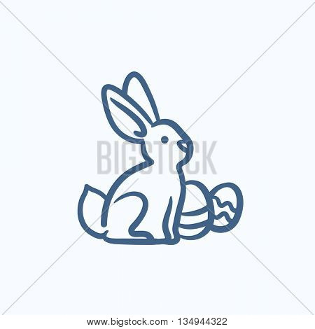 Easter bunny with eggs vector sketch icon isolated on background. Hand drawn Easter bunny with eggs icon. Easter bunny with eggs sketch icon for infographic, website or app.