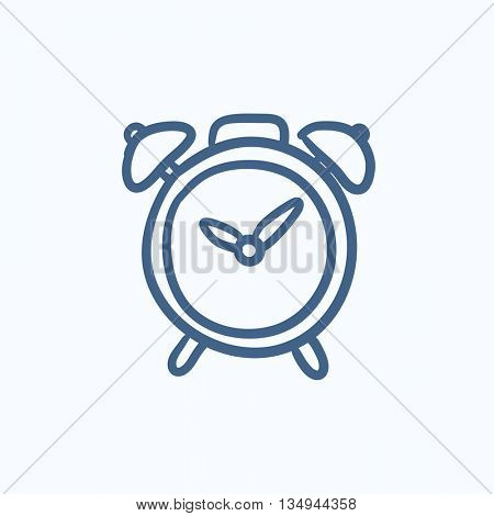 Alarm clock vector sketch icon isolated on background. Hand drawn Alarm clock icon. Alarm clock sketch icon for infographic, website or app.