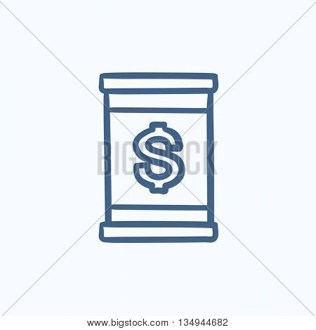 Barrel with dollar symbol vector sketch icon isolated on background. Hand drawn Barrel with dollar symbol icon. Barrel with dollar symbol sketch icon for infographic, website or app.