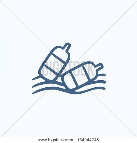 Bottles floating in water vector sketch icon isolated on background. Hand drawn Bottles floating in water icon. Bottles floating in water sketch icon for infographic, website or app.