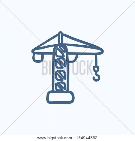 Construction crane vector sketch icon isolated on background. Hand drawn Construction crane icon. Construction crane sketch icon for infographic, website or app.