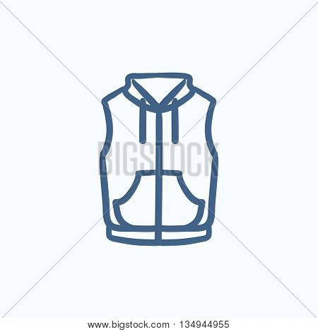 Vest down jacket vector sketch icon isolated on background. Hand drawn Vest down jacket icon. Vest down jacket sketch icon for infographic, website or app.
