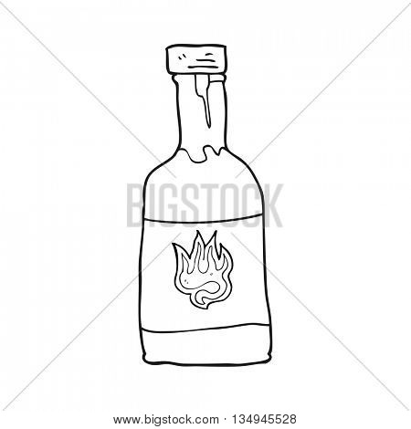 freehand drawn black and white cartoon chili sauce bottle
