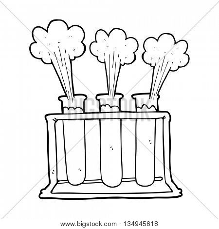 freehand drawn black and white cartoon rack of test tubes exploding