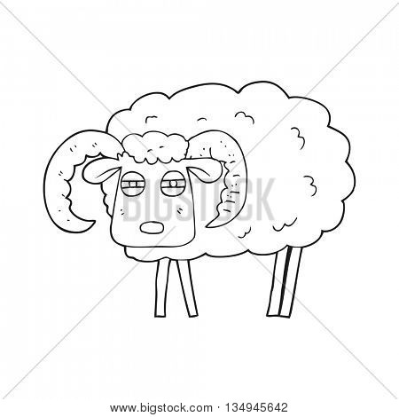 freehand drawn black and white cartoon ram covered in mud