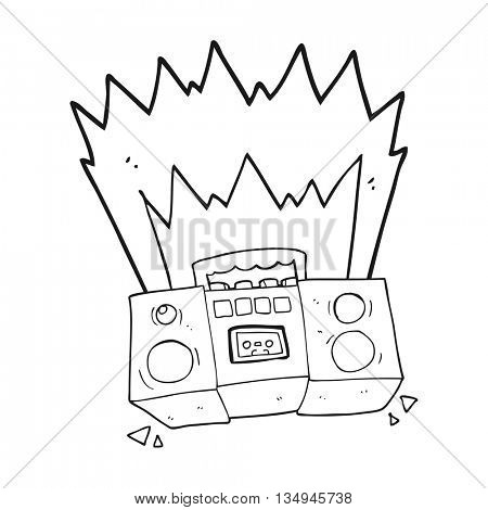 freehand drawn black and white cartoon boom box