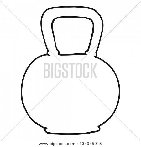 freehand drawn black and white cartoon 40kg kettle bell weight