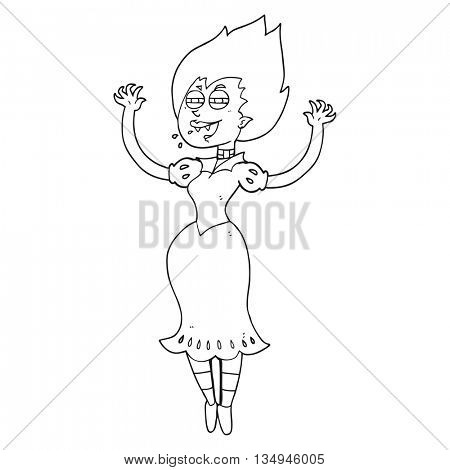 freehand drawn black and white cartoon vampire girl with bloody mouth