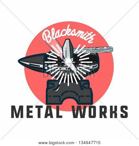 Color vintage Blacksmith emblem. Blacksmith theme- working craftsman hammers anvil chain horseshoe wheat and inscriptions isolated vector illustration
