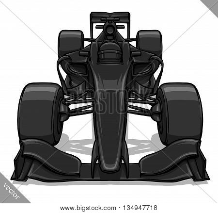 front view vector fast cartoon formula race car illustration