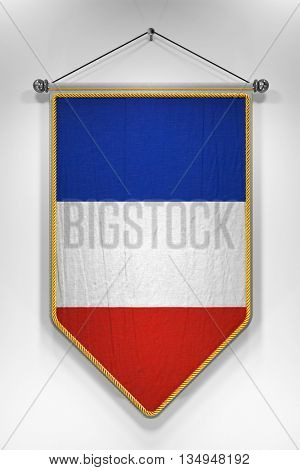 Pennant with French flag. 3D illustration with highly detailed texture.