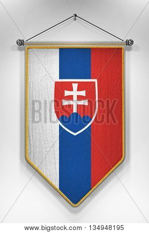 Pennant with Slovakian flag. 3D illustration with highly detailed texture.