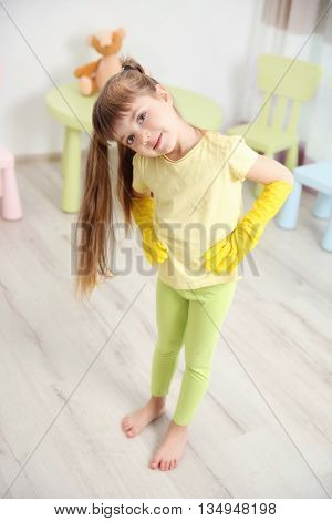 Cute little girl in the room