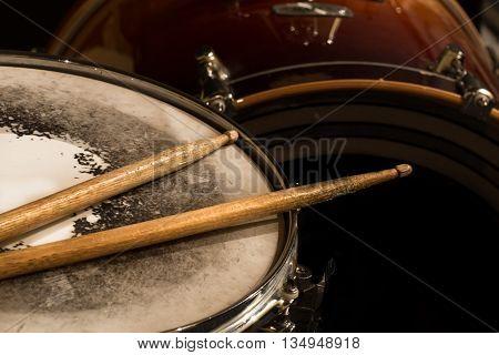 Working Drum With Drum Sticks, Musical Instrument