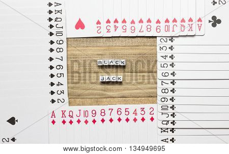 blackjack text inside border made of play card