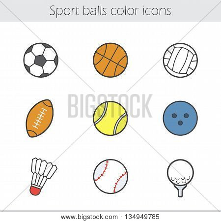 Sport balls color icons set. Team games equipment. Baseball basketball and soccer balls. Volleyball tennis and bowling balls. Badminton rugby and golf balls. Vector isolated illustrations