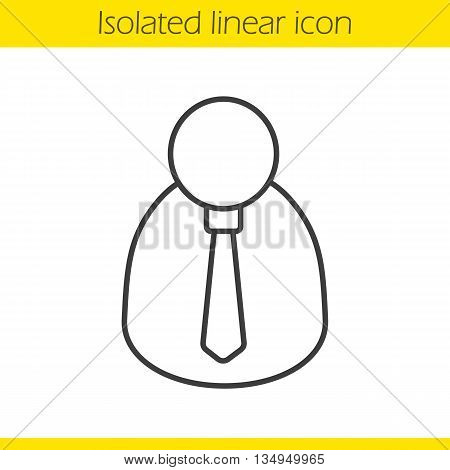 Businessman linear icon. Boss thin line illustration. Office worker contour symbol. Vector isolated outline drawing