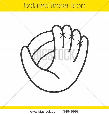 Baseball glove with ball linear icon. Softball player's equipment. Sport accessory thin line illustration. Baseball mitt contour symbol. Vector isolated outline drawing