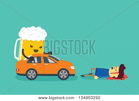 Man die after beer push a car crashed him. This illustration about drunk driving that causes of car accidents and tragedy.