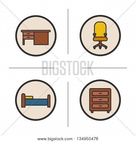 Furniture color icons set. Writing desk, computer chair, bed and dresser. Interior items. Vector isolated illustrations