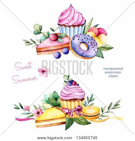 Sweet summer collection with donuts, leaves, succulent plant, branches, pansy flower, macaroons, lemon and cherry cheesecakes, cupcakes.