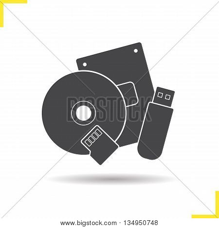 Data storage devices icon. Drop shadow usb flash drive, cd and flash card silhouette symbol. Computer data storage equipment. Vector isolated illustration