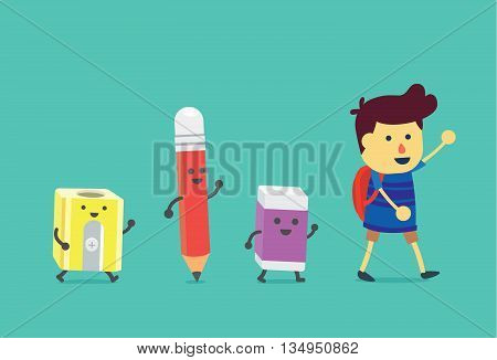 Boy walking to school with stationery for students. Pencil and eraser and pencil sharpener walking follow the him.