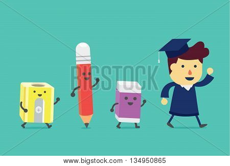 Graduate man walking to with stationery. Pencil and eraser and pencil sharpener walking follow the him like a assistant in education.