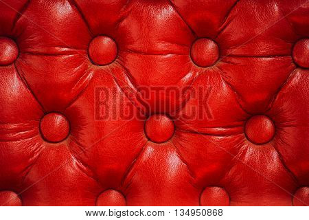 Texture of vintage red leather upholstery with buttons retro furniture background