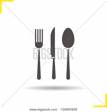 Cutlery set icon. Drop shadow fork, table knife and spoon silhouette symbol. Kitchen appliances. Cooking instruments. Vector isolated illustration