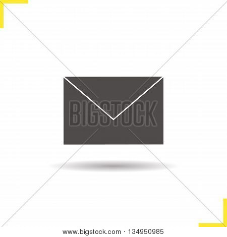 Email icon. Drop shadow letter silhouette symbol. Sms symbol. Vector isolated illustration