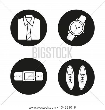 Men's accessories icons set. Shirt and tie, wristwatch, leather belt and classic shoes. Vector white silhouettes illustrations in black circles