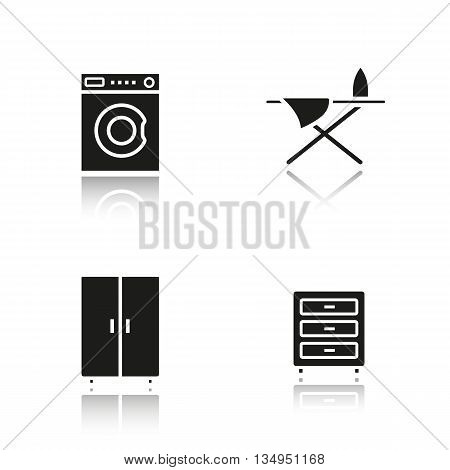 Furniture drop shadow black icons set. Washing machine, dresser, wardrobe and ironing board. Isolated vector illustrations