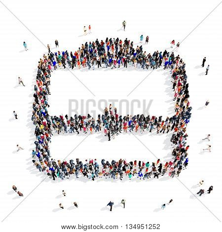 Large and creative group of people gathered together in the shape of a portfolio . 3d illustration, isolated, white background.