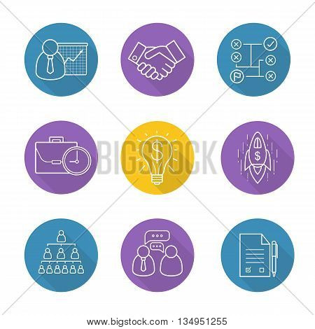 Business flat linear long shadow icons set. Teamwork, company hierarchy, work management, presentation with graph, signed contract and handshake. Successful idea and solving problems symbols. Vector