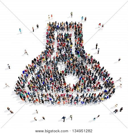 Large and creative group of people gathered together in the shape of a bulb . 3d illustration, isolated, white background.