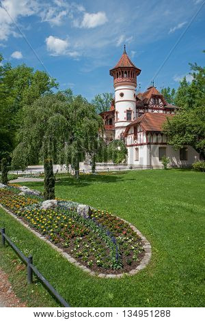 Spa Garden Herrsching With Beautiful Castle And Flowerbed