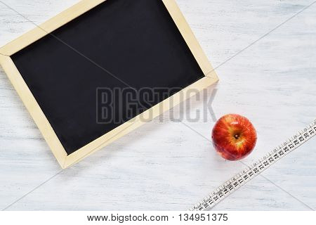 Chalkboard With Copyspace. Fitness And Diet Concept.