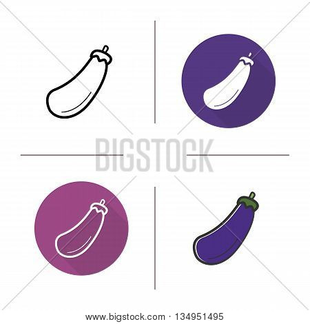 Eggplant icon. Flat design, linear and color styles. Aubergine isolated vector illustrations