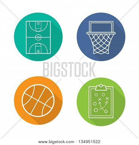 Basketball flat linear long shadow icons set. Basketball field, ball and basket, clipboard game plan. Team sport equipment. Vector