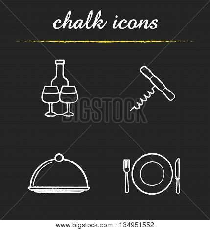 Restaurant kitchen equipment icons set. Wine bottle and glasses, corkscrew, covered dish, fork, plate and knife illustrations. Eatery isolated vector chalkboard drawings