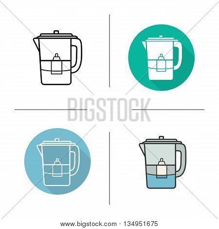 Water filter icon. Flat design, linear and color styles. Isolated vector illustrations