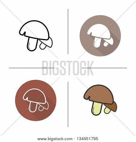 Mushrooms icon. Flat design, linear and color styles. Champignons isolated vector illustrations