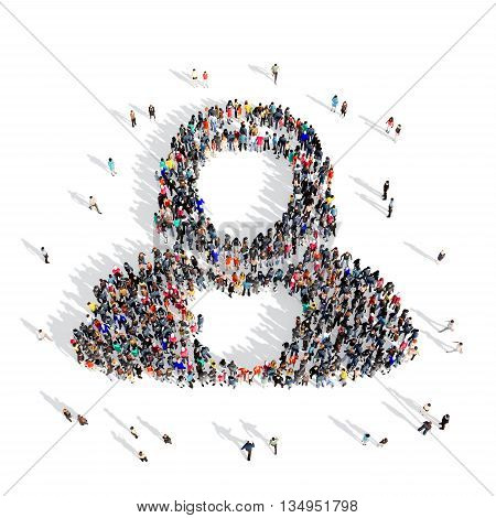 Large and creative group of people gathered together in the shape of a judge . 3d illustration, isolated, white background.