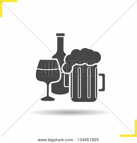 Alcohol icon. Drop shadow foamy beer mug, wineglass and wine bottle silhouette symbol. Alcoholic drinks. Vector isolated illustration