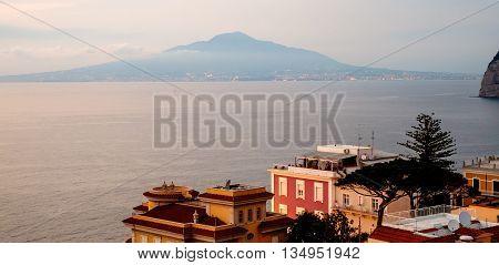 Sorrento sunset panorama Vesuvius and mediterranean sea. Campania Italy