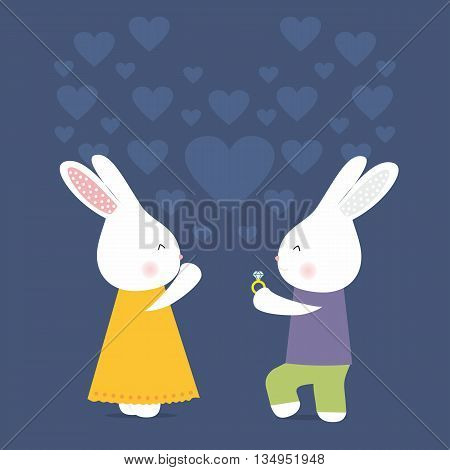 Cute rabbits with ring, love card, marry on blue background, stock vector