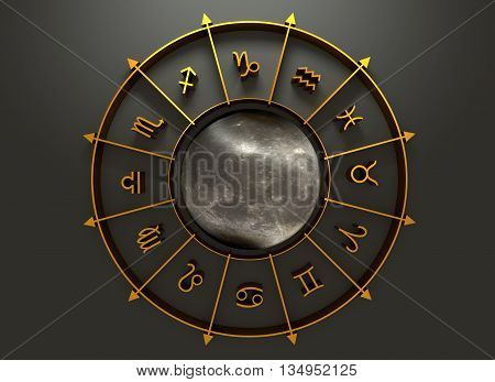 Golden astrological symbol in the circle. Moon surface textured sphere in the center of the ring. 3D rendering