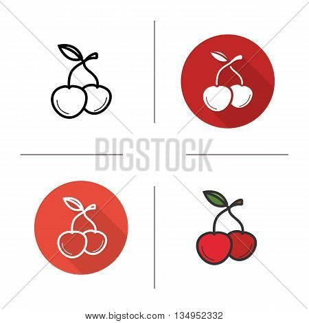 Cherries icon. Flat design, linear and color styles. Cherry berries isolated vector illustrations