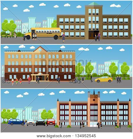 Vector set of school and college banners. Students and teachers walk next to university and school buildings.